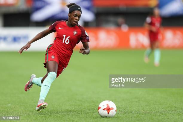Diana Silva of Portugal controls the ball during the UEFA Women's Euro 2017 Group D match between Scotland v Portugal at Sparta Stadion on July 23...