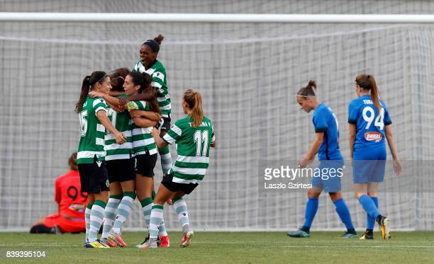Diana Silva of Sporting CP celebrates the first goal with Carole Costa of Sporting CP Rita Fontemanha of Sporting CP and Tatiana Pinto of Sporting CP...