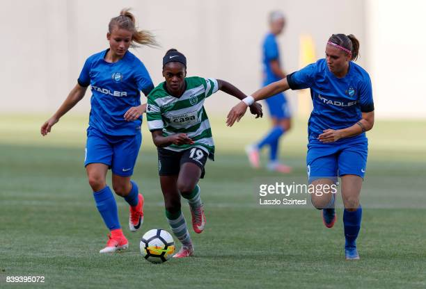 Diana Silva of Sporting CP competes for the ball with Reka Demeter of MTK Hungaria FC and Diana Csanyi of MTK Hungaria FC during the UEFA Women's...