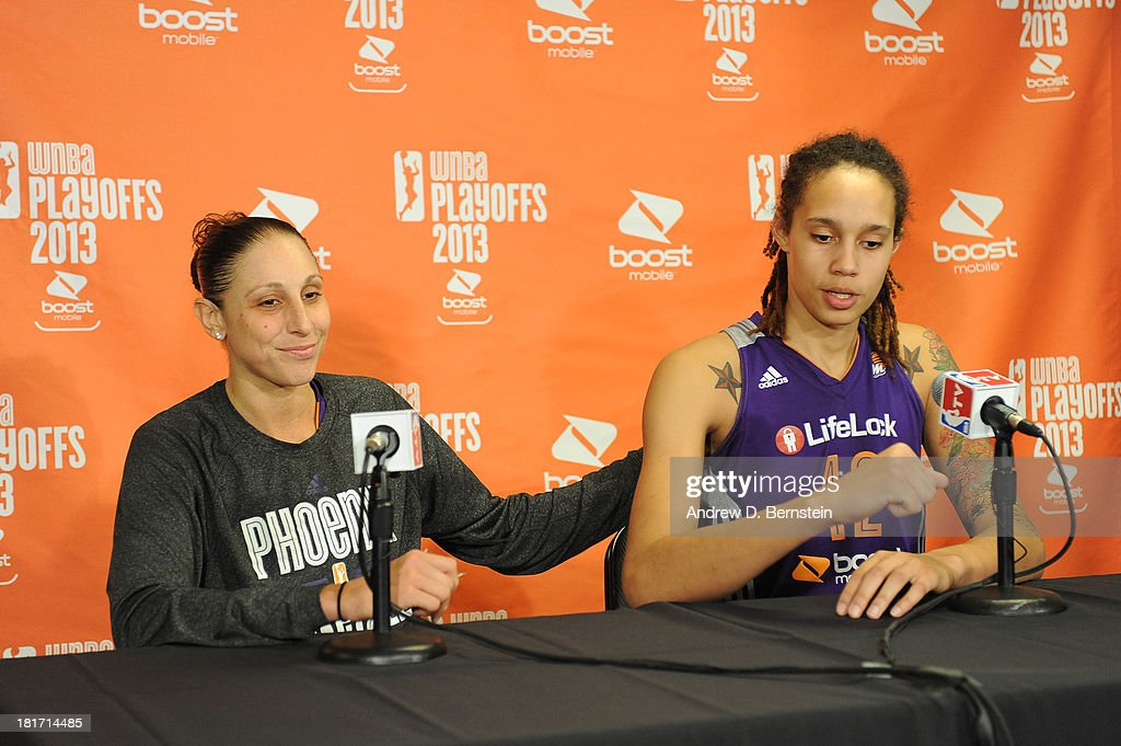 <a gi-track='captionPersonalityLinkClicked' href=/galleries/search?phrase=Diana+Taurasi&family=editorial&specificpeople=202558 ng-click='$event.stopPropagation()'>Diana Taurasi</a> #3 and <a gi-track='captionPersonalityLinkClicked' href=/galleries/search?phrase=Brittney+Griner&family=editorial&specificpeople=6836945 ng-click='$event.stopPropagation()'>Brittney Griner</a> #42 of the Phoenix Mercury answer questions from the media following their team's victory over the Los Angeles Sparks In Game Three of the Western Conference Semifinal of the 2013 WNBA playoffs at Staples Center on September 23, 2013 in Los Angeles, California.