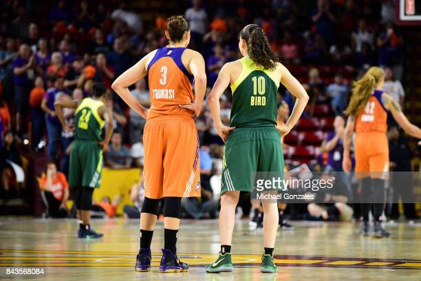 Diana Taurasi of the Phoenix Mercury and Sue Bird of the Seattle Storm look on in Round One of the 2017 WNBA Playoffs on September 6 2017 at Arizona...