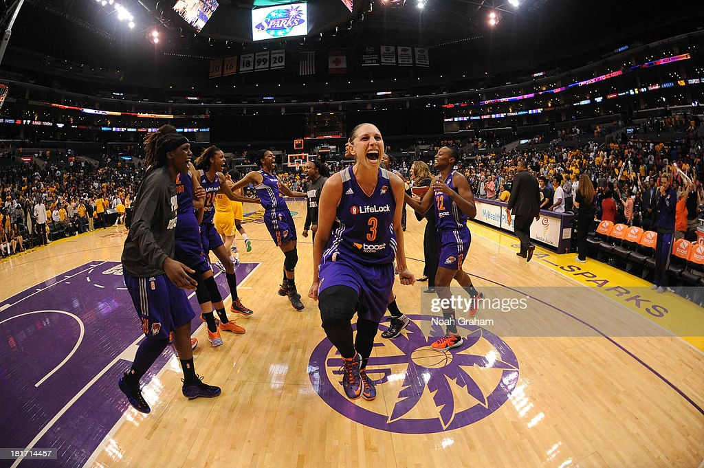 <a gi-track='captionPersonalityLinkClicked' href=/galleries/search?phrase=Diana+Taurasi&family=editorial&specificpeople=202558 ng-click='$event.stopPropagation()'>Diana Taurasi</a> #3 of the Phoenix Mercury celebrates after her team's victory over the Los Angeles Sparks in Game Three of the Western Conference Semifinal of the 2013 WNBA playoffs at Staples Center on September 23, 2013 in Los Angeles, California.