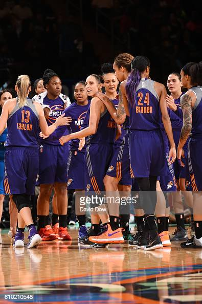 Diana Taurasi of the Phoenix Mercury celebrates with her teammates during the game against the New York Liberty during Round Two of the 2016 WNBA...