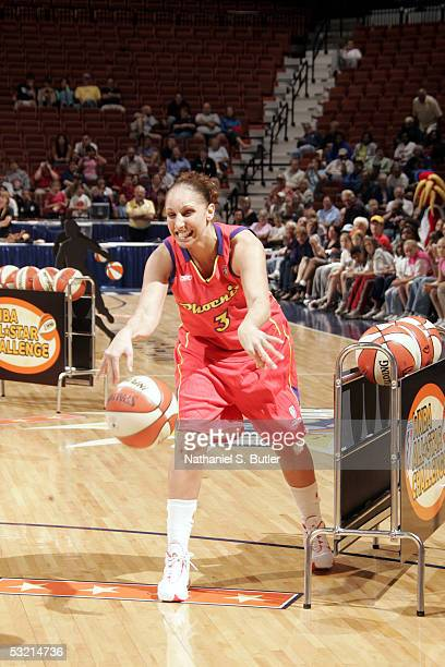 Diana Taurasi of the Phoenix Mercury competes during the Skills Competition for the 2005 WNBA AllStar game on July 8 2005 at Mohegan Sun Arena in...