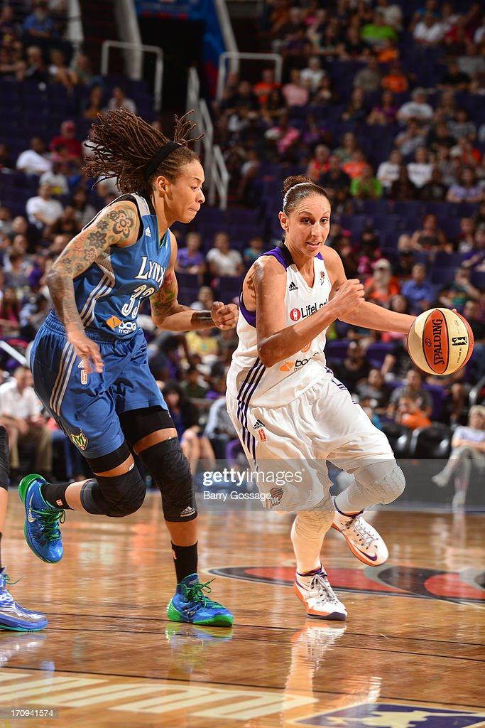 <a gi-track='captionPersonalityLinkClicked' href=/galleries/search?phrase=Diana+Taurasi&family=editorial&specificpeople=202558 ng-click='$event.stopPropagation()'>Diana Taurasi</a> #3 of the Phoenix Mercury drives to the basket against the Minnesota Lynx on June 19, 2013 at U.S. Airways Center in Phoenix, Arizona.