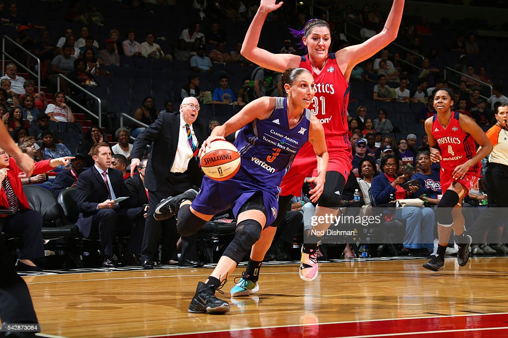 Diana Taurasi #3 of the Phoenix Mercury drives to the basket during the game against the Washington Mystics during a WNBA game on June 24, 2016 at Verizon Center in Washington, DC.