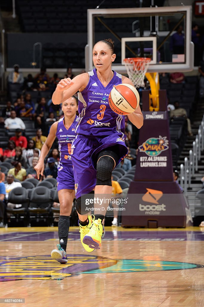 Diana Taurasi #3 of the Phoenix Mercury drives up-court against the Los Angeles Sparks at STAPLES Center on July 24, 2014 in Los Angeles, California.