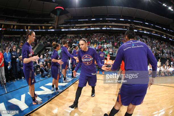 Diana Taurasi of the Phoenix Mercury gets introduced before the game against the Minnesota Lynx on August 22 2017 at Xcel Energy Center in St Paul...