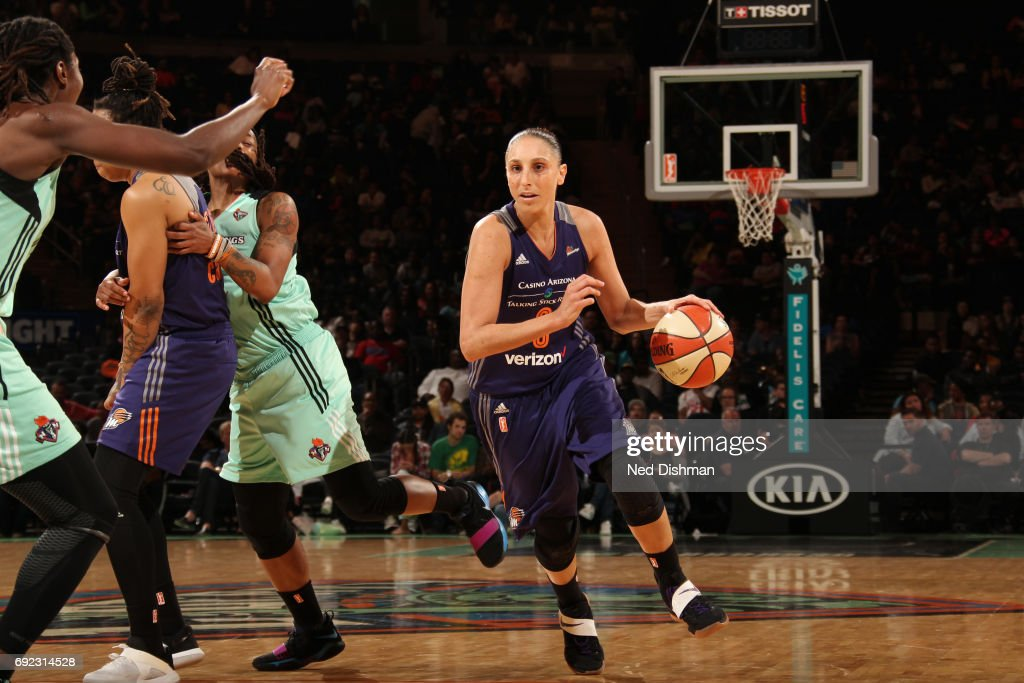 Diana Taurasi #3 of the Phoenix Mercury handles the ball against the New York Liberty on June 4, 2017 at Madison Square Garden in New York, New York.