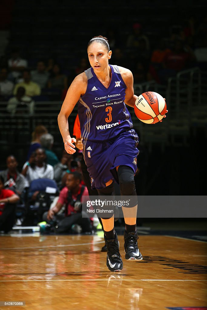 <a gi-track='captionPersonalityLinkClicked' href=/galleries/search?phrase=Diana+Taurasi&family=editorial&specificpeople=202558 ng-click='$event.stopPropagation()'>Diana Taurasi</a> #3 of the Phoenix Mercury handles the ball during the game against the Washington Mystics during a WNBA game on June 24, 2016 at Verizon Center in Washington, DC.