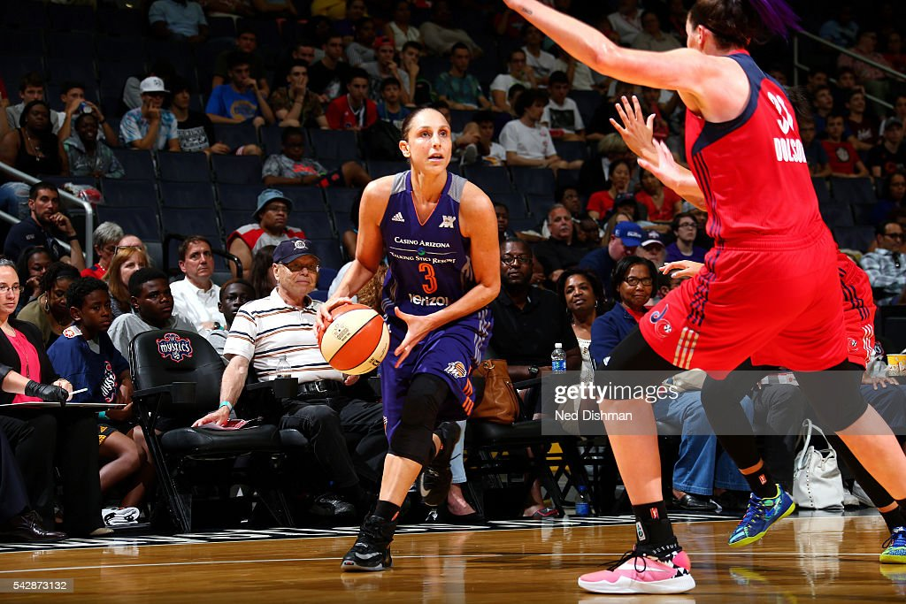 Diana Taurasi #3 of the Phoenix Mercury handles the ball during the game against the Washington Mystics during a WNBA game on June 24, 2016 at Verizon Center in Washington, DC.