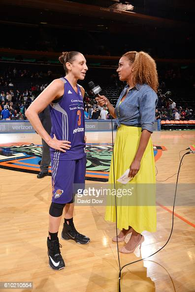 Diana Taurasi of the Phoenix Mercury is interviewed after winning the game against the New York Liberty during Round Two of the 2016 WNBA Playoffs on...
