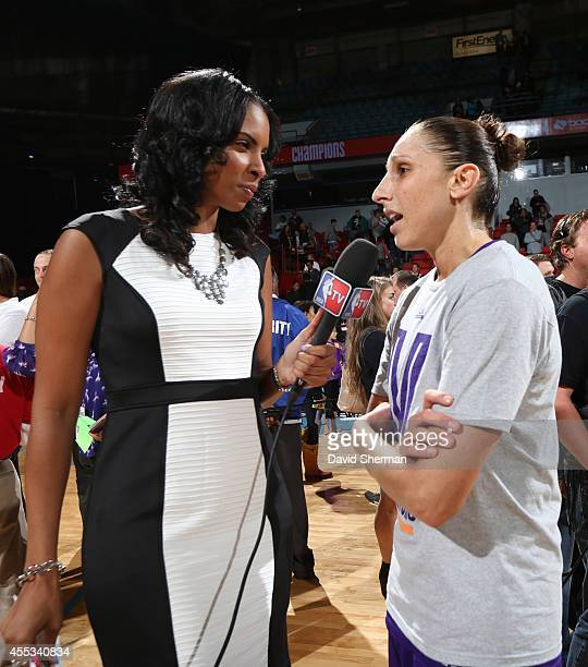 Diana Taurasi of the Phoenix Mercury is interviewed by NBA TV following Game Three of the 2014 WNBA Finals on September 12 2014 at the UIC Pavilion...