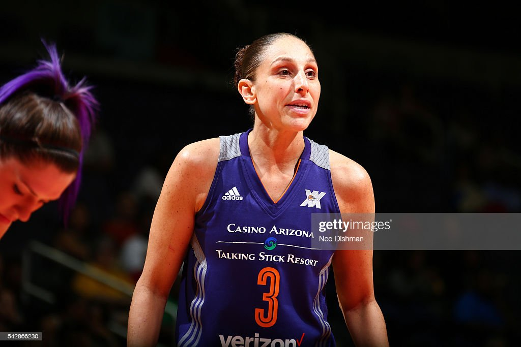 <a gi-track='captionPersonalityLinkClicked' href=/galleries/search?phrase=Diana+Taurasi&family=editorial&specificpeople=202558 ng-click='$event.stopPropagation()'>Diana Taurasi</a> #3 of the Phoenix Mercury looks on during the game against the Washington Mystics during a WNBA game on June 24, 2016 at Verizon Center in Washington, DC.
