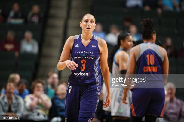 Diana Taurasi of the Phoenix Mercury looks on during the game against the Minnesota Lynx on August 22 2017 at Xcel Energy Center in St Paul Minnesota...