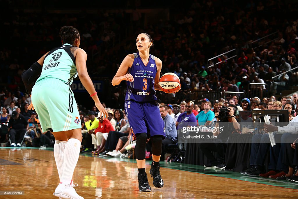 <a gi-track='captionPersonalityLinkClicked' href=/galleries/search?phrase=Diana+Taurasi&family=editorial&specificpeople=202558 ng-click='$event.stopPropagation()'>Diana Taurasi</a> #3 of the Phoenix Mercury moves the ball against the New York Liberty on June 26, 2016 at Madison Square Garden in New York, New York.
