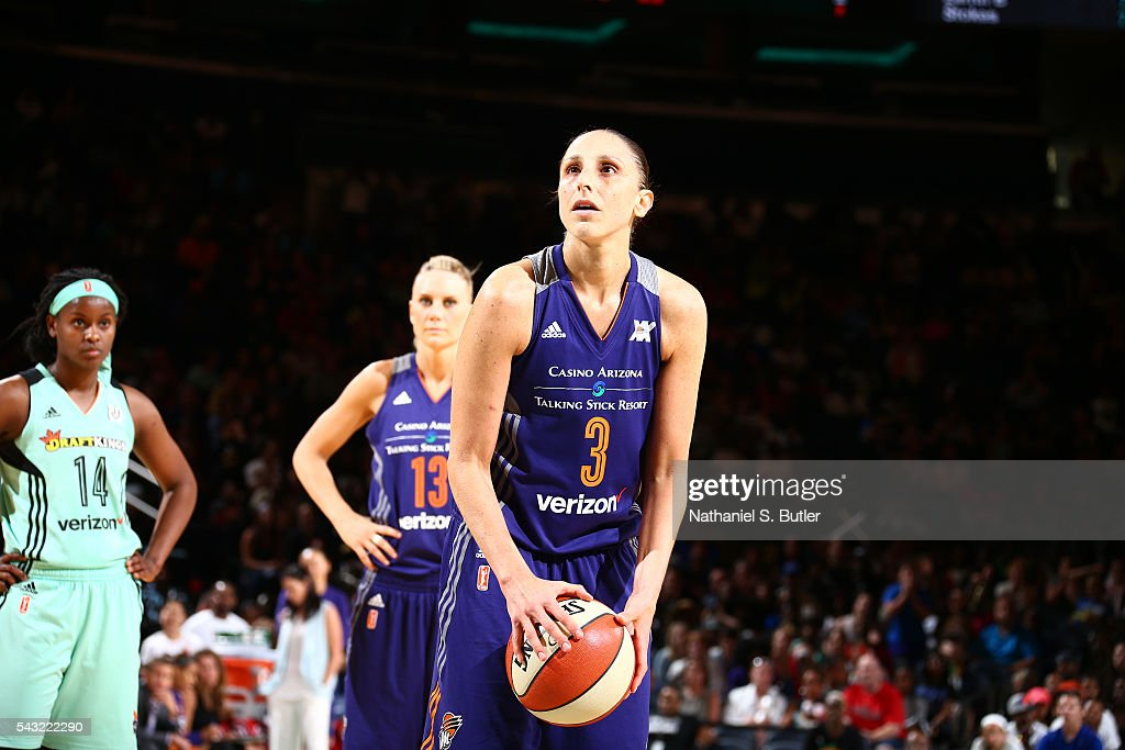 <a gi-track='captionPersonalityLinkClicked' href=/galleries/search?phrase=Diana+Taurasi&family=editorial&specificpeople=202558 ng-click='$event.stopPropagation()'>Diana Taurasi</a> #3 of the Phoenix Mercury prepares to shoot a free throw against the New York Liberty on June 26, 2016 at Madison Square Garden in New York, New York.