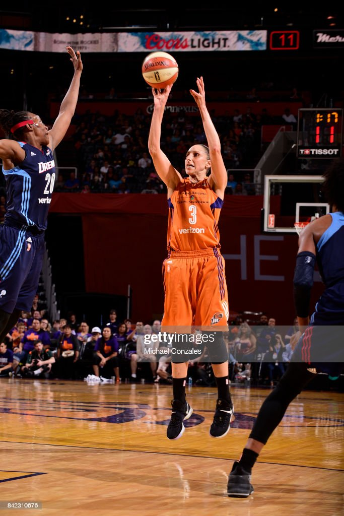 Diana Taurasi #3 of the Phoenix Mercury shoots the ball against the Atlanta Dream on September 3, 2017 at Talking Stick Resort Arena in Phoenix, Arizona.