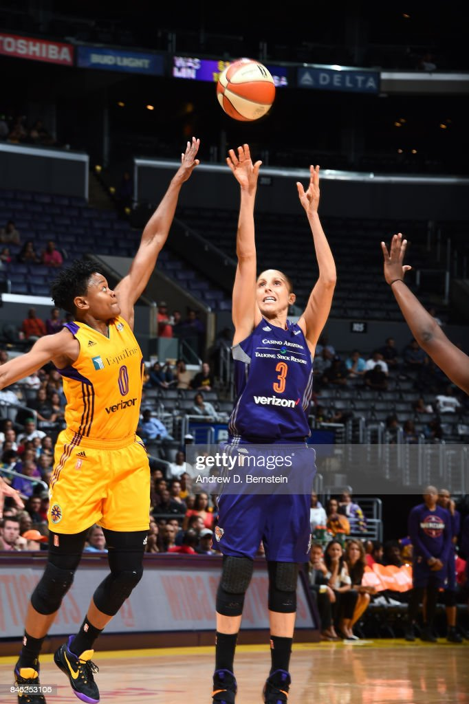 Diana Taurasi #3 of the Phoenix Mercury shoots the ball during the game against the Los Angeles Sparks in Game One of the Semifinals during the 2017 WNBA Playoffs on September 12, 2017 at STAPLES Center in Los Angeles, California.