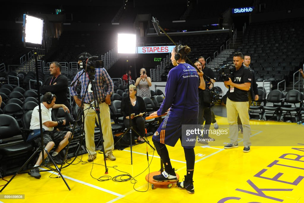 Diana Taurasi #3 of the Phoenix Mercury talks to the media after the game against the Los Angeles Sparks on June 18, 2017 at STAPLES Center in Los Angeles, California.