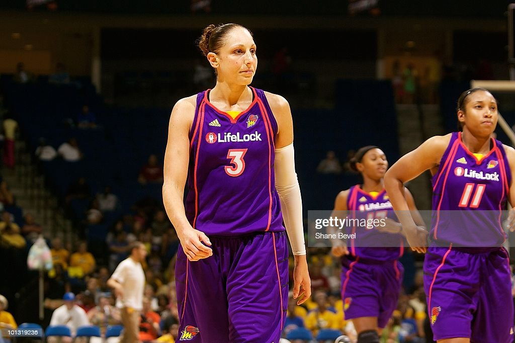 Diana Taurasi #3 of the Phoenix Mercury walks down the court during the WNBA game against the Tulsa Shock on May 25, 2010 at the BOK Center in Tulsa, Oklahoma. The Mercury won 110-96.