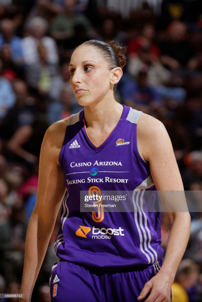 <a gi-track='captionPersonalityLinkClicked' href=/galleries/search?phrase=Diana+Taurasi&family=editorial&specificpeople=202558 ng-click='$event.stopPropagation()'>Diana Taurasi</a> #3 of the Phoenix Mercury walks up court against the Connecticut Sun on June 12, 2014 at Mohegan Sun Arena in Uncasville, Connecticut.