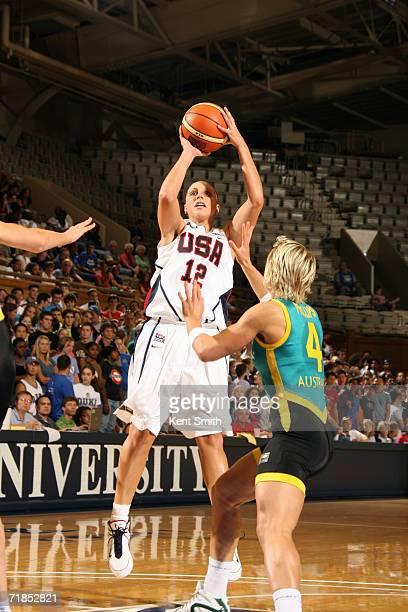 Diana Taurasi of the USA Basketball Women's World Championship Team shoots a jump shot over Erin Phillips of the Australia Women's World Championship...