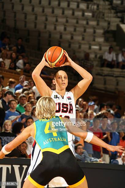 Diana Taurasi of the USA Basketball Women's World Championship Team looks to pass over Erin Phillips of the Australia Women's World Championship Team...