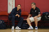 Diana Taurasi of the USA Women's National Team talks with Geno Auriemma during mini training camp on May 5 2015 at the Mendenhall Center in Las Vegas...