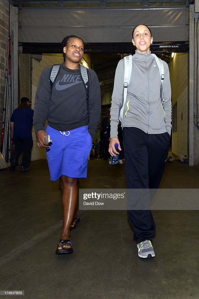 Diana Taurasi of the Western Conference All-Stars and Epiphanny Prince of the Eastern Conference All-Stars arrive at the 2013 Boost Mobile WNBA All-Star Game on July 27, 2013 at Mohegan Sun Arena in Uncasville, Connecticut.