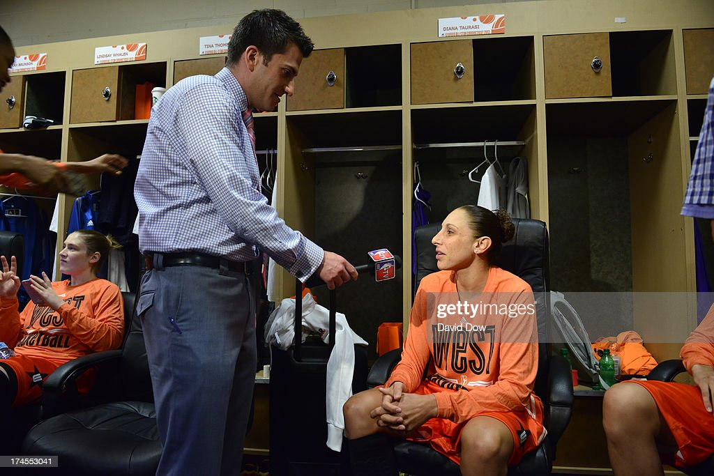 Diana Taurasi of the Western Conference All-Stars is interviewed prior to the 2013 Boost Mobile WNBA All-Star Game on July 27, 2013 at Mohegan Sun Arena in Uncasville, Connecticut.