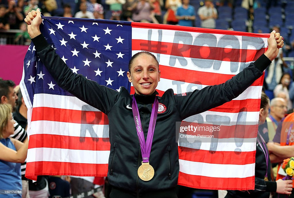 <a gi-track='captionPersonalityLinkClicked' href=/galleries/search?phrase=Diana+Taurasi&family=editorial&specificpeople=202558 ng-click='$event.stopPropagation()'>Diana Taurasi</a> #12 of United States celebrates after defeating France 86-50 to win the gold medal in the Women's Basketball gold medal game on Day 15 of the London 2012 Olympic Games at North Greenwich Arena on August 11, 2012 in London, England.