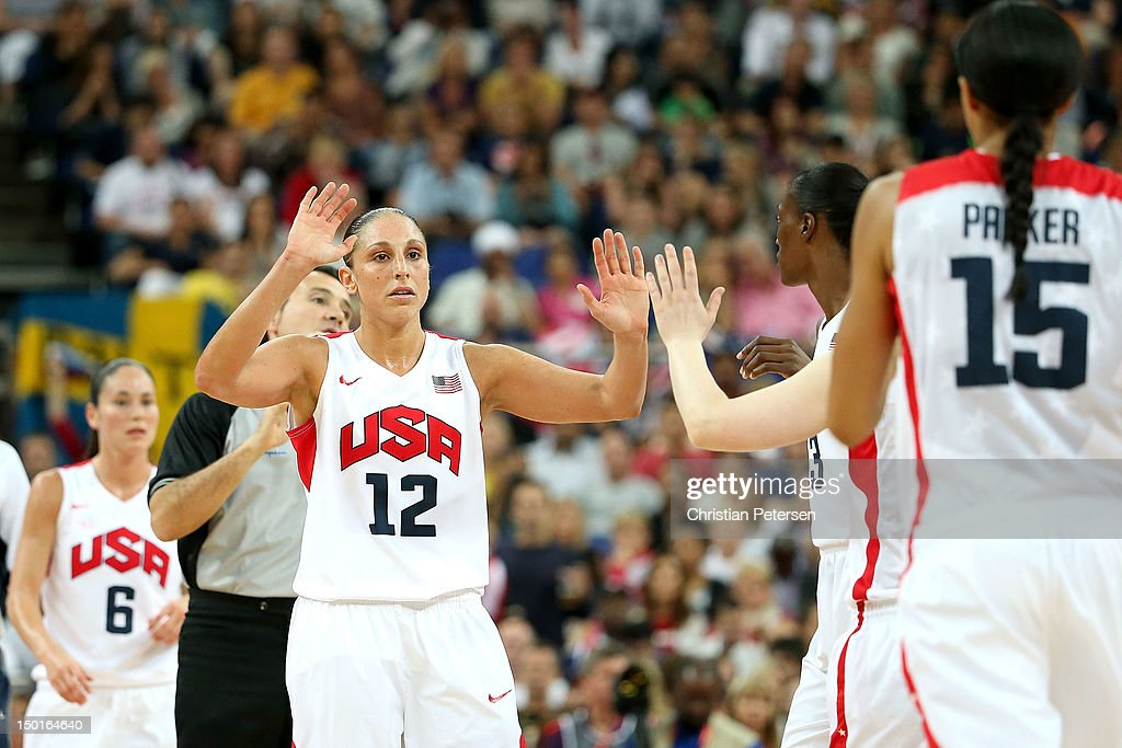 <a gi-track='captionPersonalityLinkClicked' href=/galleries/search?phrase=Diana+Taurasi&family=editorial&specificpeople=202558 ng-click='$event.stopPropagation()'>Diana Taurasi</a> #12 of United States celebrates with teammates in the first quarter against France during the Women's Basketball Gold Medal game on Day 15 of the London 2012 Olympic Games at North Greenwich Arena on August 11, 2012 in London, England.