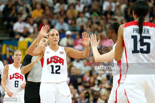 Diana Taurasi of United States celebrates with teammates in the first quarter against France during the Women's Basketball Gold Medal game on Day 15...