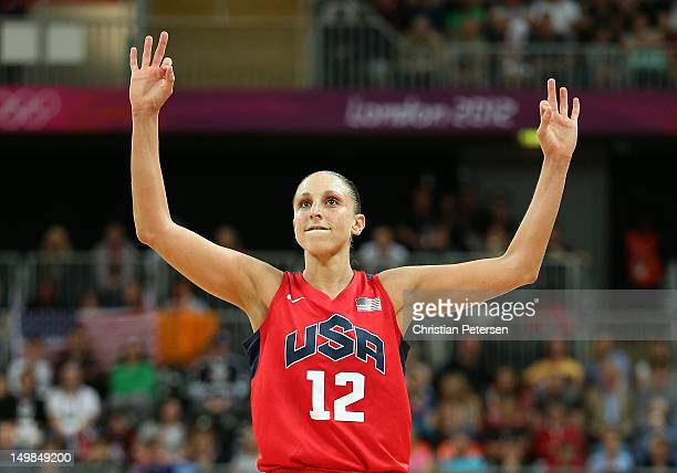 Diana Taurasi of United States reacts to a shot against China during the Women's Basketball Preliminary Round match on Day 9 of the London 2012...