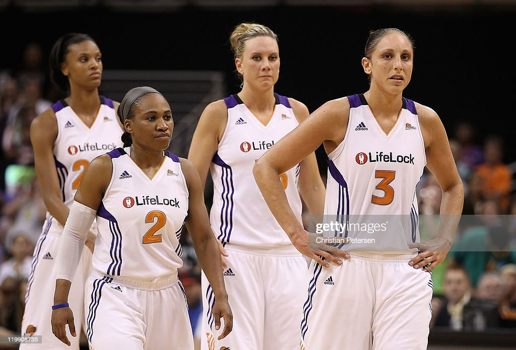 <a gi-track='captionPersonalityLinkClicked' href=/galleries/search?phrase=Diana+Taurasi&family=editorial&specificpeople=202558 ng-click='$event.stopPropagation()'>Diana Taurasi</a> #3, <a gi-track='captionPersonalityLinkClicked' href=/galleries/search?phrase=Penny+Taylor&family=editorial&specificpeople=206985 ng-click='$event.stopPropagation()'>Penny Taylor</a> #13, <a gi-track='captionPersonalityLinkClicked' href=/galleries/search?phrase=Temeka+Johnson&family=editorial&specificpeople=217716 ng-click='$event.stopPropagation()'>Temeka Johnson</a> #2 and <a gi-track='captionPersonalityLinkClicked' href=/galleries/search?phrase=DeWanna+Bonner&family=editorial&specificpeople=4085058 ng-click='$event.stopPropagation()'>DeWanna Bonner</a> #24 of the Phoenix Mercury react as they walk down court late in the fourth quarter of the WNBA game against the Seattle Storm at US Airways Center on July 26, 2011 in Phoenix, Arizona. The Storm defeated the Mercury 83-77.
