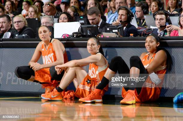Diana Taurasi Sue Bird and Candace Parker of the Western Conference All Stars look on during the game against the Eastern Conference All Stars during...