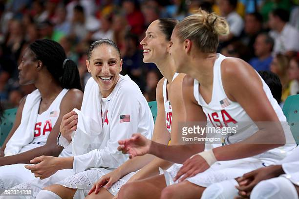 Diana Taurasi Sue Bird and Elena Delle Donne of United States celebrate on the bench during the Women's Gold Medal Game between United States and...