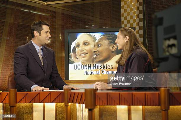 Diana Taurasi visits the set at ESPN during a day in New York City on April 15 2004 before the WNBA Draft NOTE TO USER User expressly acknowledges...