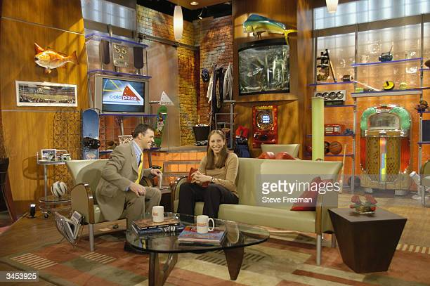 Diana Taurasi visits the set of 'Cold Pizza' during a day in New York City on April 15 2004 before the WNBA Draft NOTE TO USER User expressly...