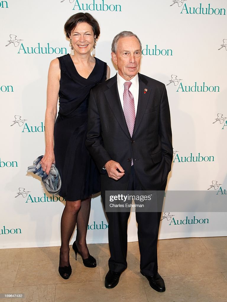 Diana Taylor and New York City Mayor <a gi-track='captionPersonalityLinkClicked' href=/galleries/search?phrase=Michael+Bloomberg&family=editorial&specificpeople=171685 ng-click='$event.stopPropagation()'>Michael Bloomberg</a> attend the 2013 National Audubon Society Gala dinner on January 17, 2013 at The Plaza Hotel in New York, City.