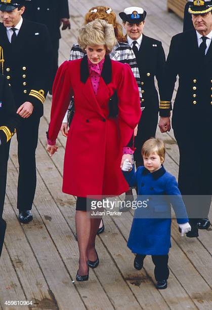 Diana The Princess of Wales accompanied by Sarah Ferguson take Prince William on a visit to HMS Brazen by the River Thames they were shown around the...