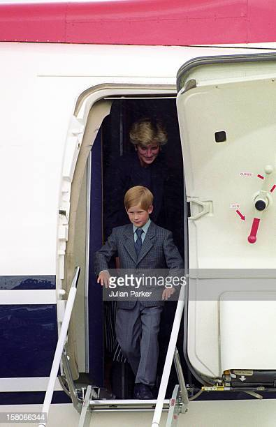 Diana The Princess Of Wales Prince William And Prince Harry Return From Balmoral Scotland To London