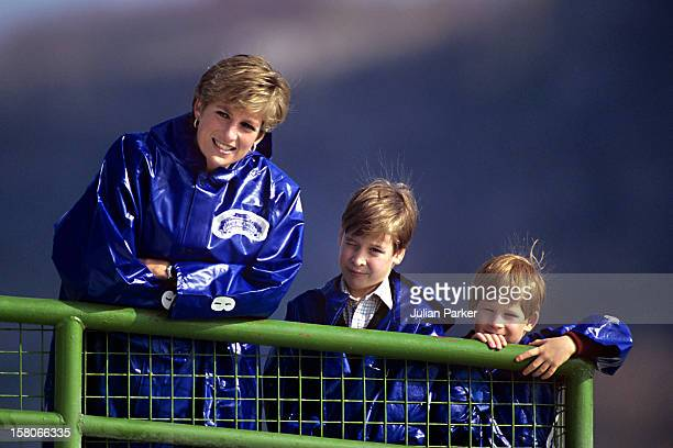 Diana The Princess Of Wales Takes Her Sons Prince'S William And Harry Out On The Boat ' Maid Of The Mist ' To View Niagara Falls