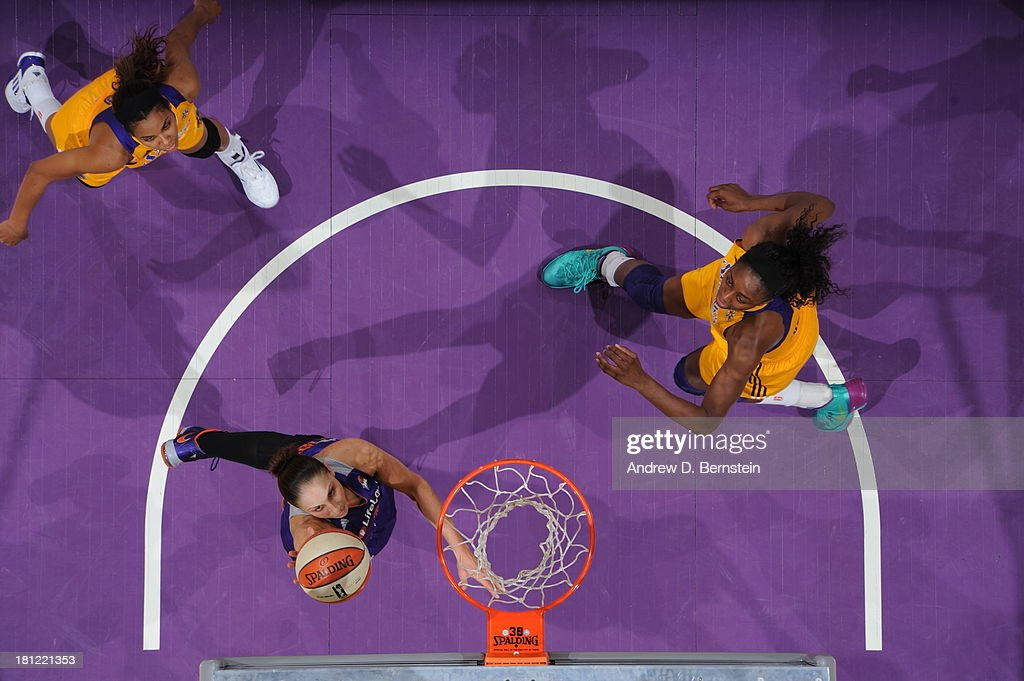 Diana Turasi #3 of the Phoenix Mercury attempts a shot during a game against the Los Angeles Sparks at STAPLES Center on September 19, 2013 in Los Angeles, California.