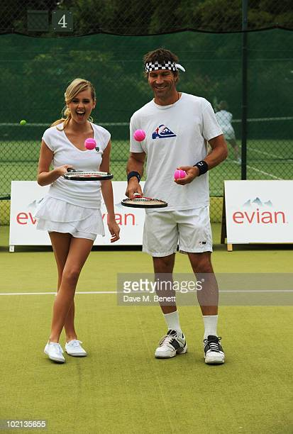 Diana Vickers and Pat Cash attend Diana Vickers and Pat Cash warm up for Wimbledon with Evian the offcial bottled water at The Hurlingham Club on...
