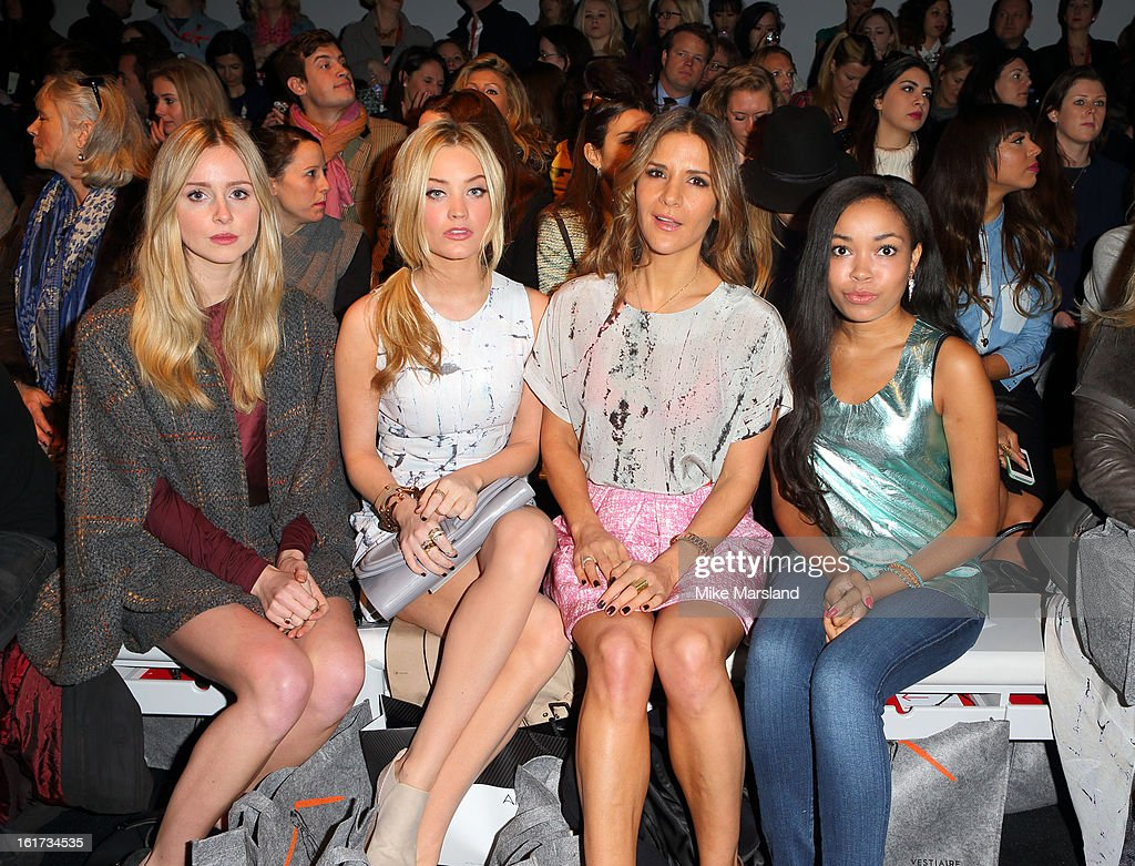 <a gi-track='captionPersonalityLinkClicked' href=/galleries/search?phrase=Diana+Vickers&family=editorial&specificpeople=5583865 ng-click='$event.stopPropagation()'>Diana Vickers</a>, <a gi-track='captionPersonalityLinkClicked' href=/galleries/search?phrase=Laura+Whitmore&family=editorial&specificpeople=5599316 ng-click='$event.stopPropagation()'>Laura Whitmore</a>, <a gi-track='captionPersonalityLinkClicked' href=/galleries/search?phrase=Amanda+Byram&family=editorial&specificpeople=661578 ng-click='$event.stopPropagation()'>Amanda Byram</a> and <a gi-track='captionPersonalityLinkClicked' href=/galleries/search?phrase=Dionne+Bromfield&family=editorial&specificpeople=6400392 ng-click='$event.stopPropagation()'>Dionne Bromfield</a> attend the Zoe Jordan show during London Fashion Week Fall/Winter 2013/14 at Somerset House on February 15, 2013 in London, England.