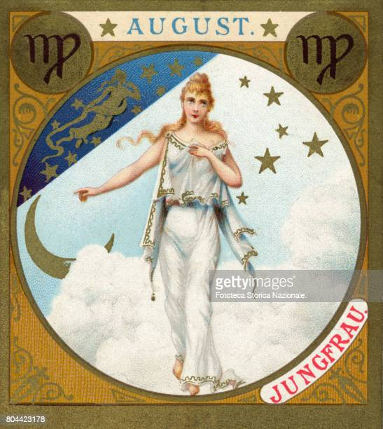 Diana virgin little picture dedicated to August from a series illustrated with zodiac signs and scenes from classical mythology Chromos Germany 1897