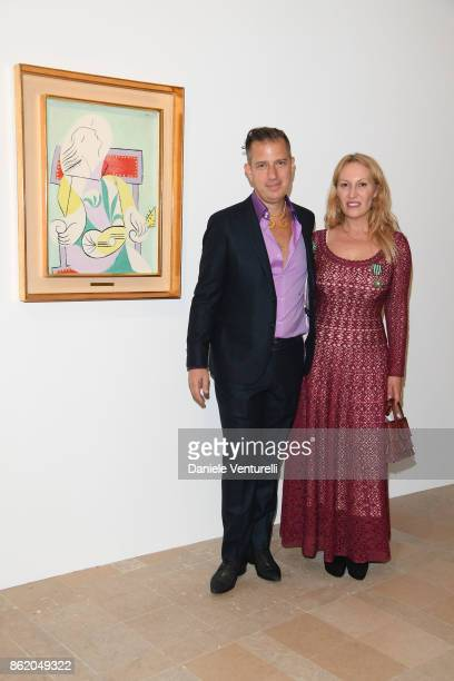 Diana Widmaier Picasso and Alexander SC Rower receive the Chevalier and Officier de l'Ordre des Arts et des Lettres Medals at the Musee Picasso on...