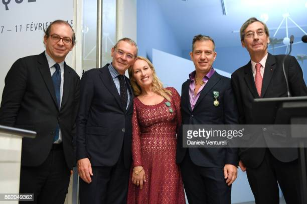 Diana Widmaier Picasso and Alexander SC Rower receive the Chevalier and Officier de Ordre des Arts et des Lettres Medals at the Musee Picasso on...